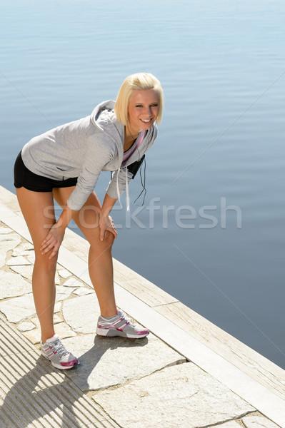 спорт женщину ног док Солнечный воды Сток-фото © CandyboxPhoto