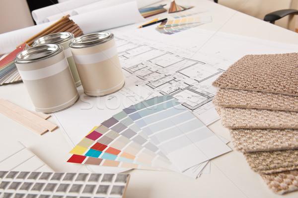 Iroda belsőépítész festék szín terv asztal Stock fotó © CandyboxPhoto