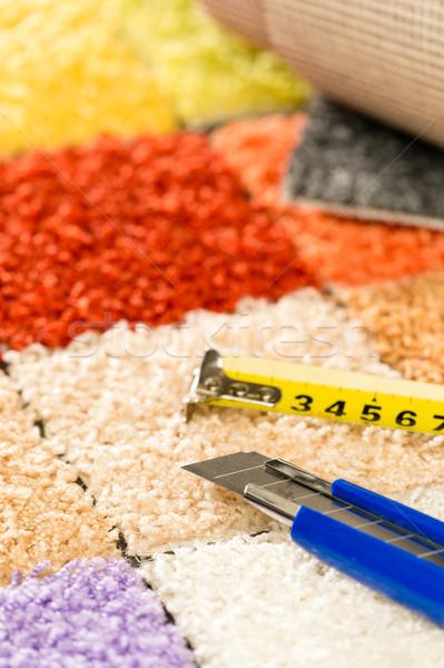 Dywan nóż centymetrem kolorowy nikt Zdjęcia stock © CandyboxPhoto