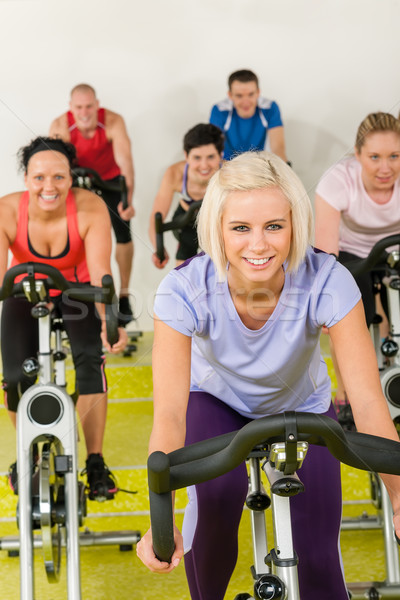 Young woman at spinning class enjoy workout Stock photo © CandyboxPhoto