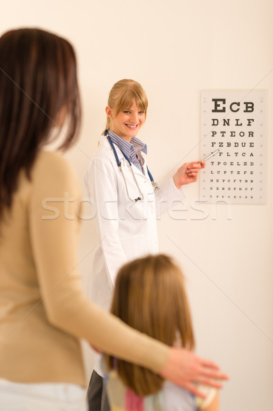 Pediatrician ophthalmologist point eye-chart Stock photo © CandyboxPhoto