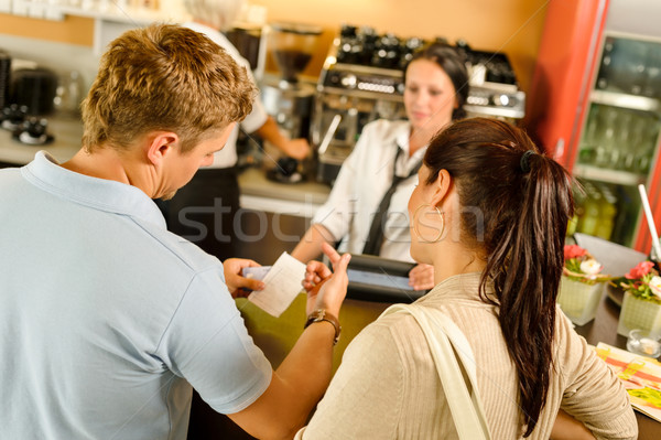 Man checking receipt at cafe payment Stock photo © CandyboxPhoto