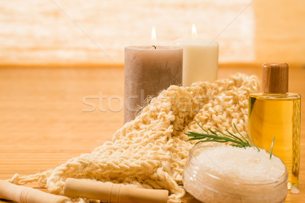 Stock photo: Massage treatment candles with oil scrub salt