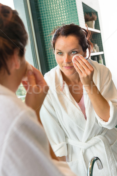 Young woman cleaning face cotton pads bathrobe Stock photo © CandyboxPhoto