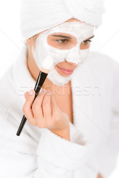 Foto d'archivio: Adolescente · problema · cura · della · pelle · donna · maschera · bellezza