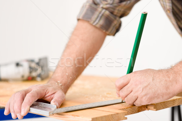 Home improvement - close-up of measuring wood Stock photo © CandyboxPhoto