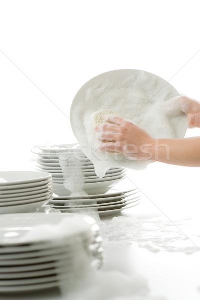 Mãos luvas cozinha trabalhos domésticos casa Foto stock © CandyboxPhoto
