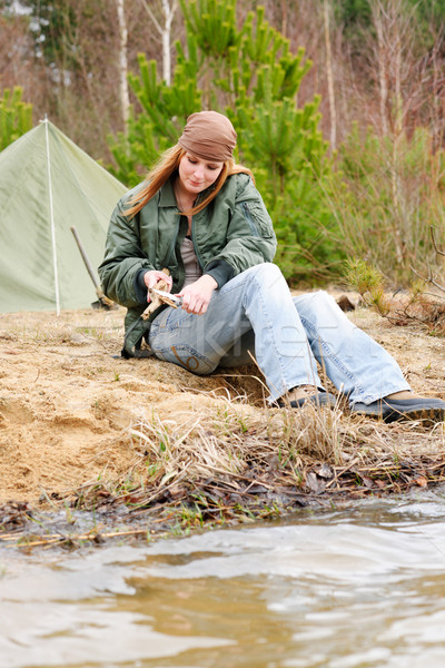 Camping woman tent nature cut stick Stock photo © CandyboxPhoto