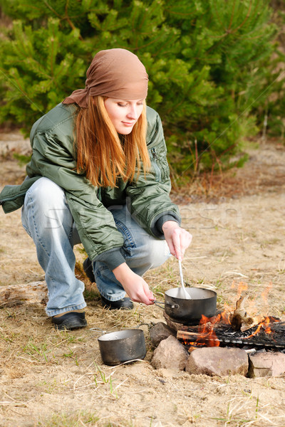 Camping woman cook food fire nature Stock photo © CandyboxPhoto