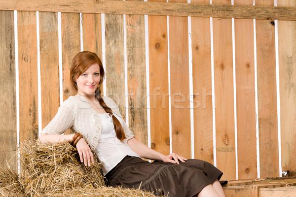 Romantikus fiatal nő ül széna csőr portré Stock fotó © CandyboxPhoto