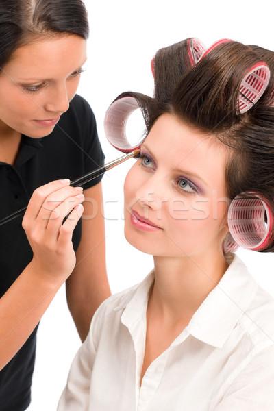 Maquiador mulher moda modelo escove Foto stock © CandyboxPhoto