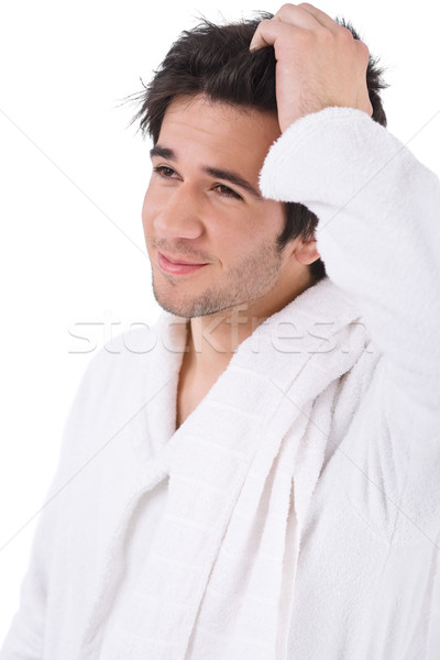 Morning - Young man in bathrobe with towel waking up Stock photo © CandyboxPhoto