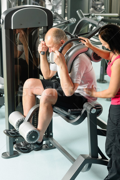 Olgun adam egzersiz personal trainer spor salonu gözetim spor Stok fotoğraf © CandyboxPhoto