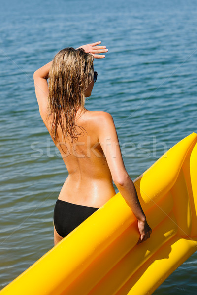 Nyár nő tenger víz lebeg matrac Stock fotó © CandyboxPhoto