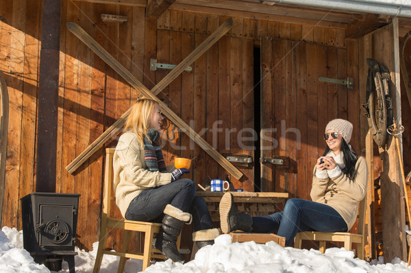 Two girlfriends enjoy tea winter snow cottage Stock photo © CandyboxPhoto
