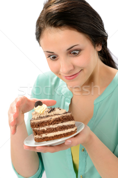 Tempting sweet cake and young hungry woman Stock photo © CandyboxPhoto