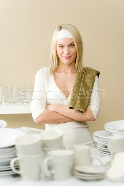 Stock photo: Modern kitchen - happy woman washing dishes