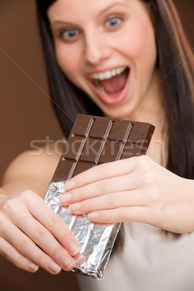 Chocolate retrato mulher jovem morder doces Foto stock © CandyboxPhoto