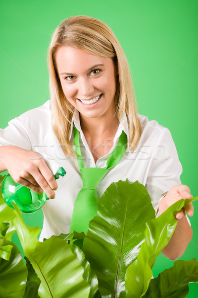 Green business woman water houseplant smiling Stock photo © CandyboxPhoto