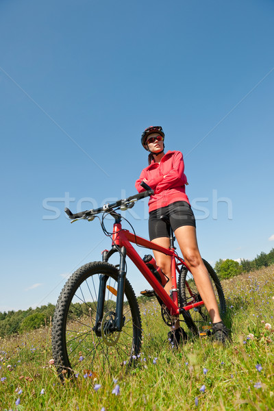 Mulher jovem mountain bike primavera natureza mulher Foto stock © CandyboxPhoto