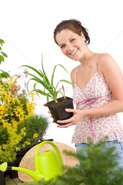 Jardinage femme arrosoir blanche Photo stock © CandyboxPhoto