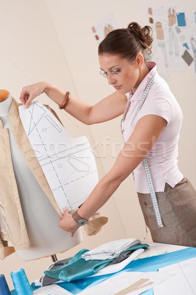 Női divat designer dolgozik minta vág Stock fotó © CandyboxPhoto