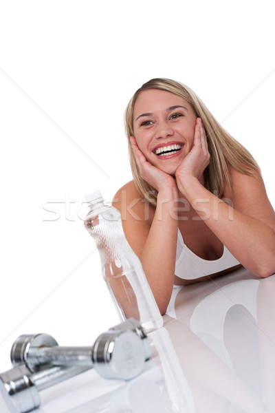 Fitness series - Blond woman with weights and bottle of water Stock photo © CandyboxPhoto