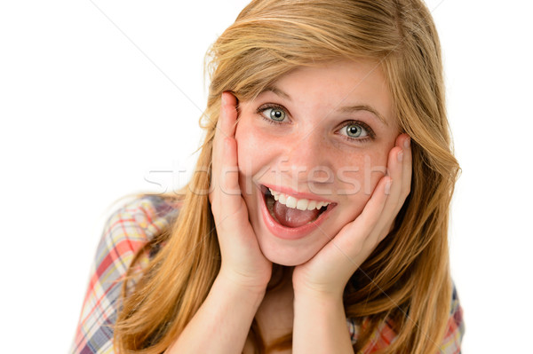 Happy girl expressing her joyful emotions Stock photo © CandyboxPhoto