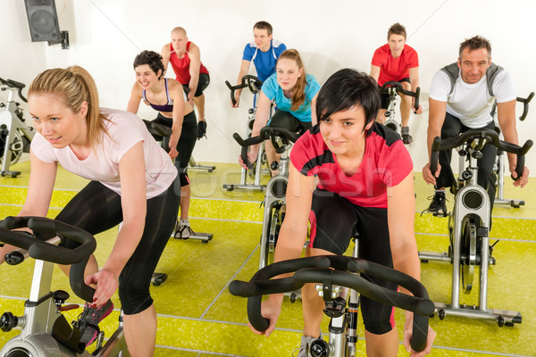 Spinning class people at the fitness center Stock photo © CandyboxPhoto