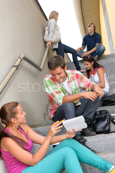 Students talking relaxing on school steps teens Stock photo © CandyboxPhoto