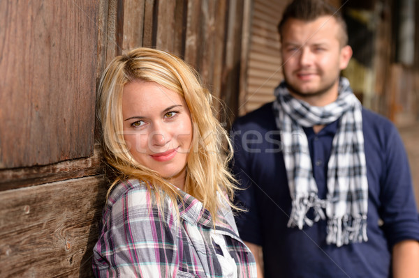 Woman and man smiling resting tourists travel Stock photo © CandyboxPhoto