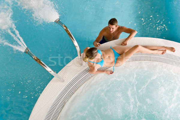 Top view - young couple relax in swimming pool Stock photo © CandyboxPhoto