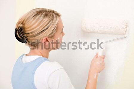 Сток-фото: Живопись · стены · женщину · счастливым · домой