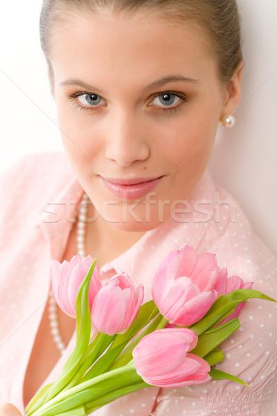 Stok fotoğraf: Moda · genç · romantik · kadın · bahar · lale