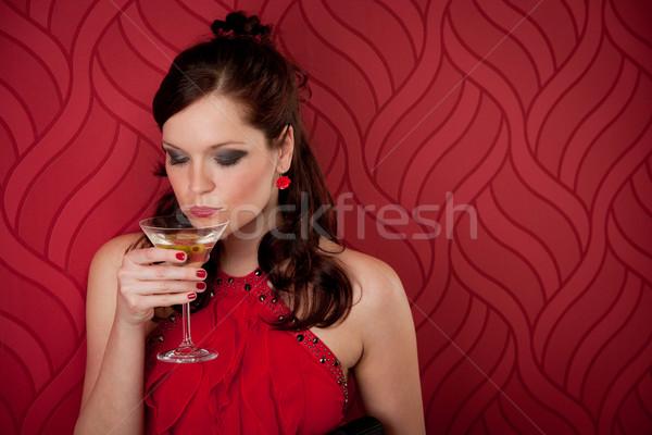 Cocktail party vrouw avondkleding genieten drinken Rood Stockfoto © CandyboxPhoto