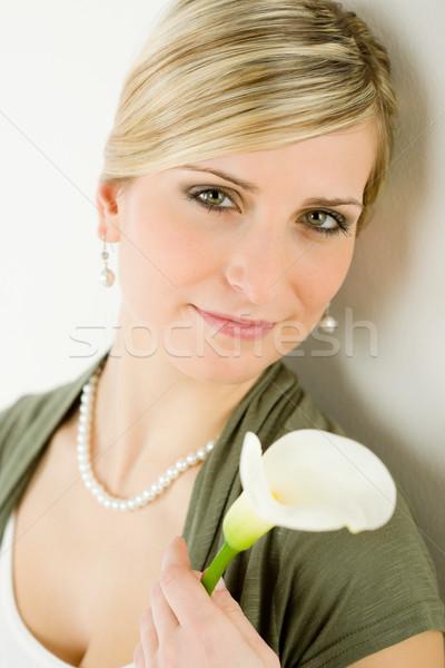 Portrait romantic woman hold calla lily flower Stock photo © CandyboxPhoto