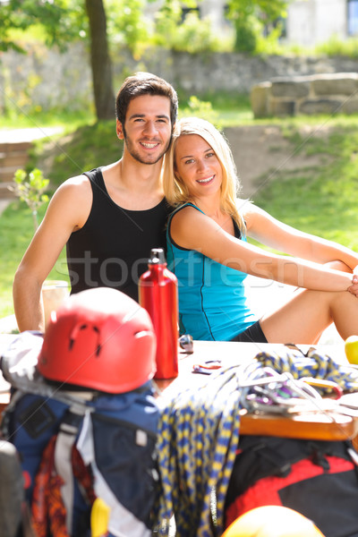 Young couple relax sunny terrace climbing gear  Stock photo © CandyboxPhoto