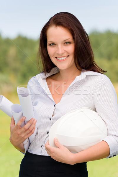 építész nő napos természet mosolyog laptop Stock fotó © CandyboxPhoto