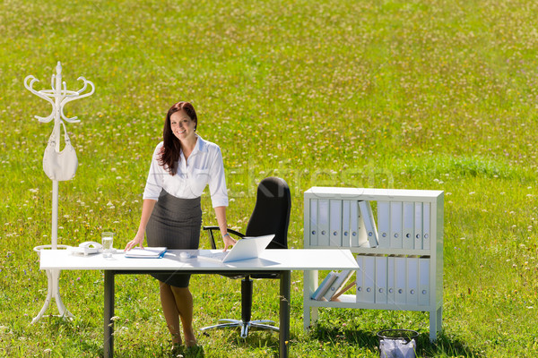 Stock photo: Businesswoman in sunny meadow nature office smile