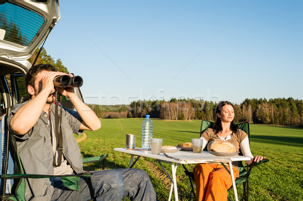 Camping car young man look telescope countryside Stock photo © CandyboxPhoto
