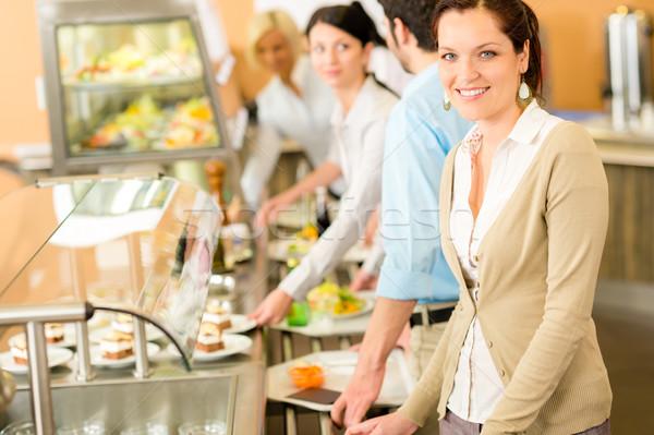 Femme d'affaires cafétéria déjeuner souriant Ouvrir la Photo stock © CandyboxPhoto