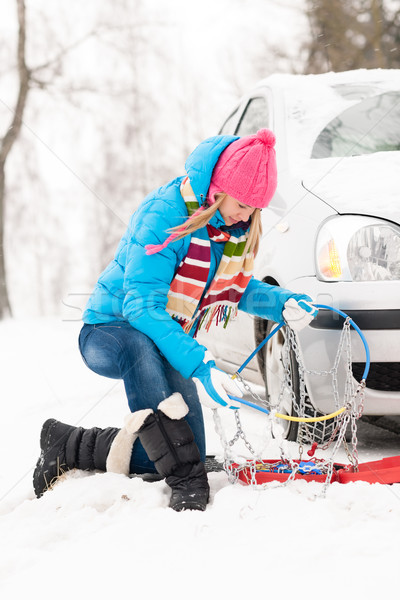 Winter car tire snow chains woman Stock photo © CandyboxPhoto