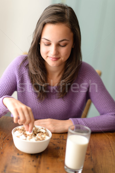 Dieting teenage girl eat cereal healthy breakfast Stock photo © CandyboxPhoto