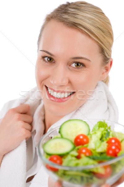 Egészséges életmód mosolygó nő zöldség saláta fehér nő Stock fotó © CandyboxPhoto