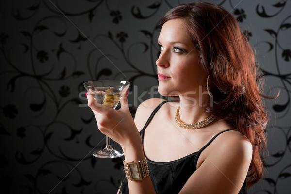 Cocktail party vrouw avondkleding genieten drinken zwarte Stockfoto © CandyboxPhoto