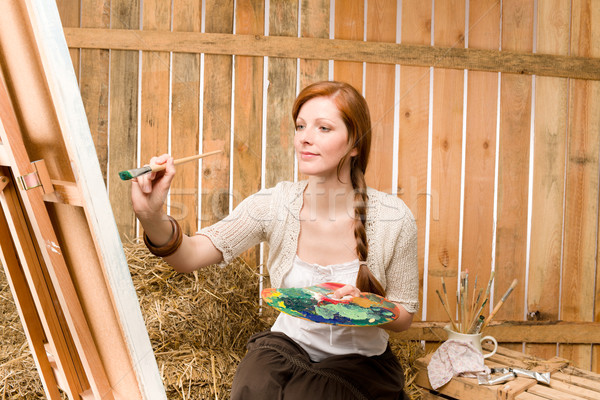 Red-hair romantic woman in barn painting country Stock photo © CandyboxPhoto