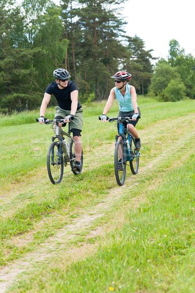 Stock fotó: Sport · boldog · pár · lovaglás · biciklik · barátok