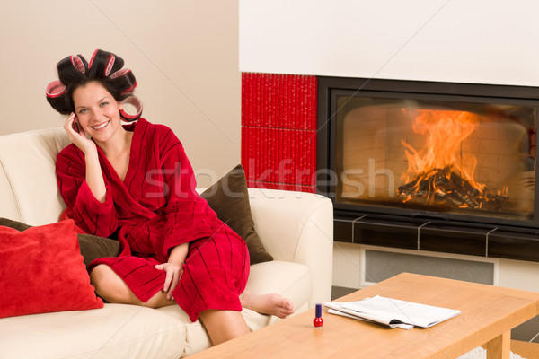 Home beauty woman with hair curlers calling Stock photo © CandyboxPhoto