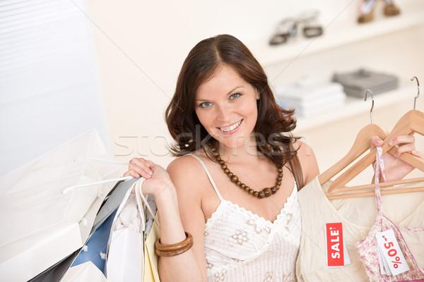 Stock fotó: Divat · vásárlás · boldog · nő · választ · vásár