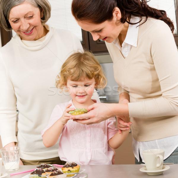 Women generations around cupcake cookies Stock photo © CandyboxPhoto